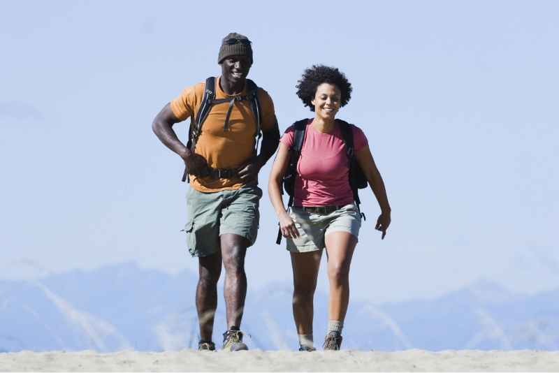 A young couple hiking